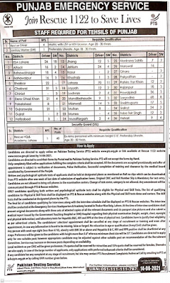 Punjab Emergency Services Rescue 1122 New Jobs 2021