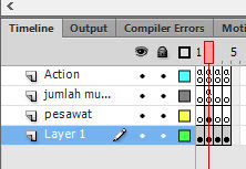Frame dan layer permainan perang pesawat luar angkasa - adobe flash cs 6, actionscript 3.0