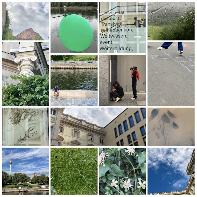 Wolken, alte une neue Bäume, Himmel und Hölle (Hüpfekästchchen), Pflanzen, Partyluftballon, Fotografierende, ein Paar an der Spree am Humboldt Forum (Preußenschloss) ... ...
