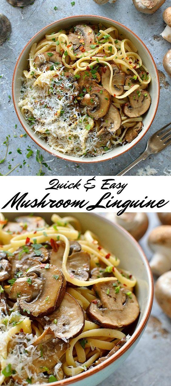 EASY MUSHROOM LINGUINE #mushroom #linguine #veggies #vegetarian #vegetarianrecipes #easyvegetarianrecipes #pasta
