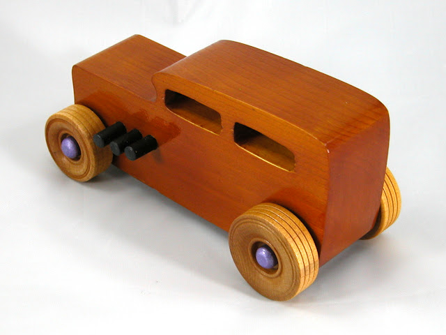 Left Rear Top - Wooden Toy Car - Hot Rod Freaky Ford - 32 Sedan - Pine - Amber Shellac - Metallic Purple Hubs