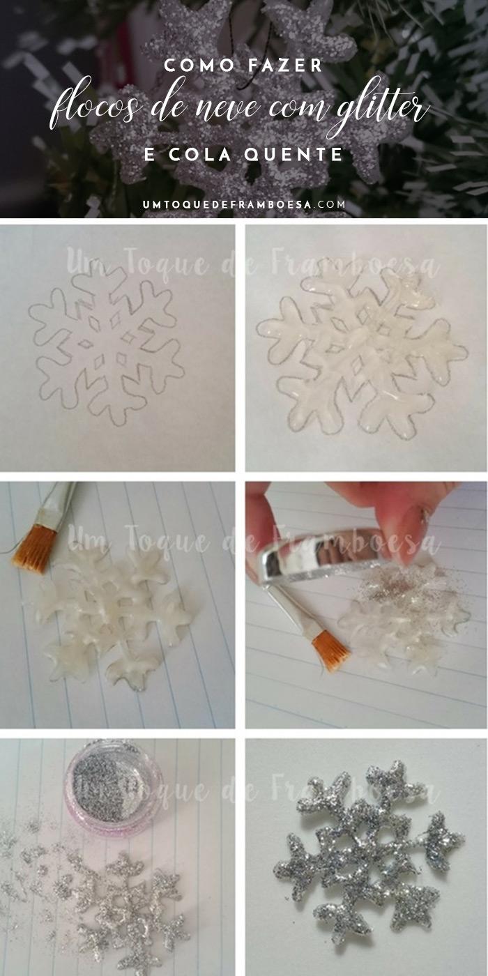 Como fazer flocos de neve com glitter e cola quente para decorar no Natal