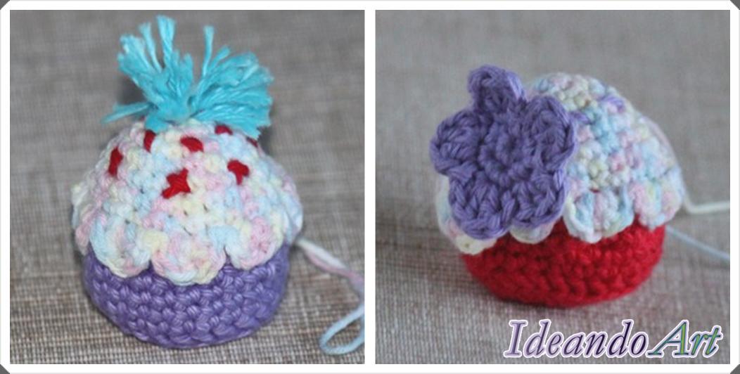 Cupcakes amigurumi de crochet