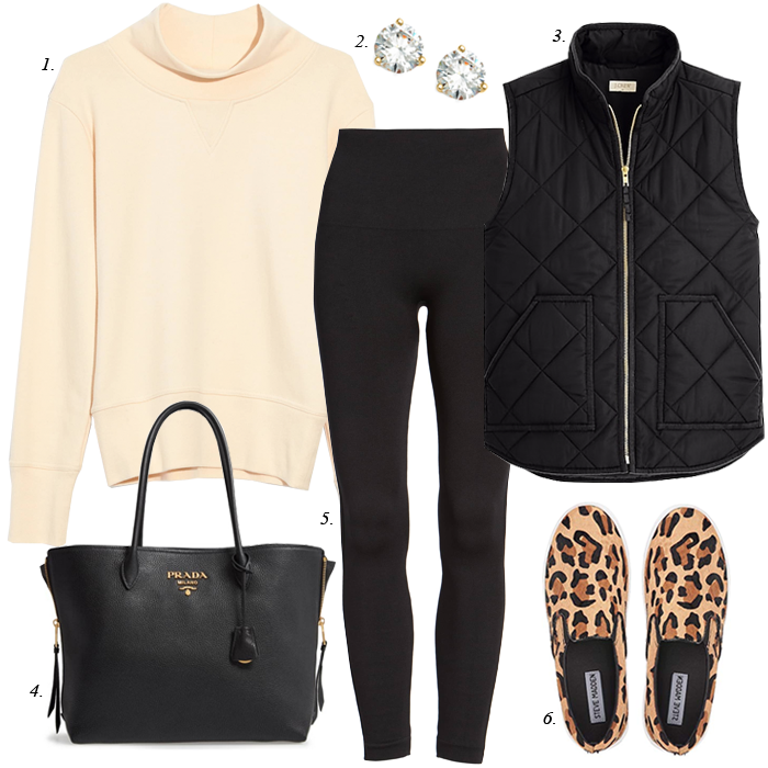 leopard sneakers, black leggings, black quilted vest, off white sweatshirt