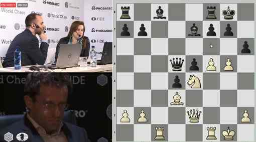 L'image clé de la ronde 7 : quand Judit Polgar et Lawrence Trent voient Levon Aronian jouer tout pour l'attaque contre Fabiano Caruana avec le très tranchant 16.g4 - Photo © World Chess