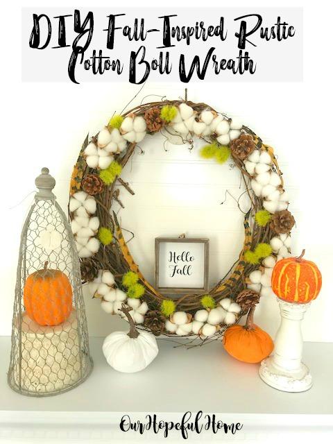cotton boll wreath pine cones dianthus pumpkins hello fall sign