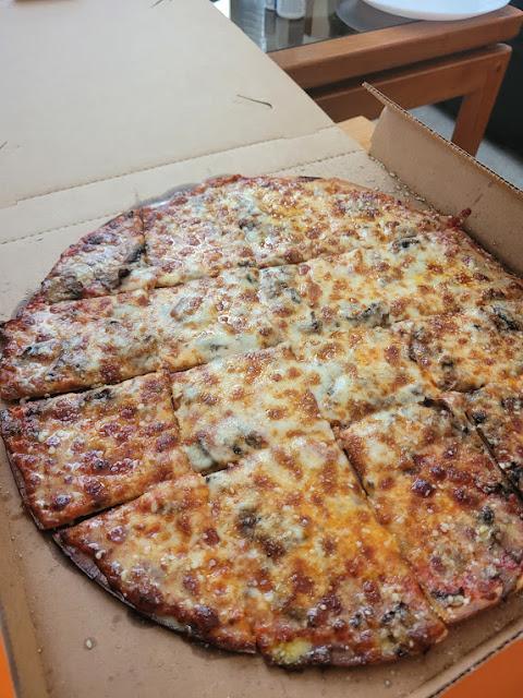 Thin crust mushroom pizza from Cottage Inn