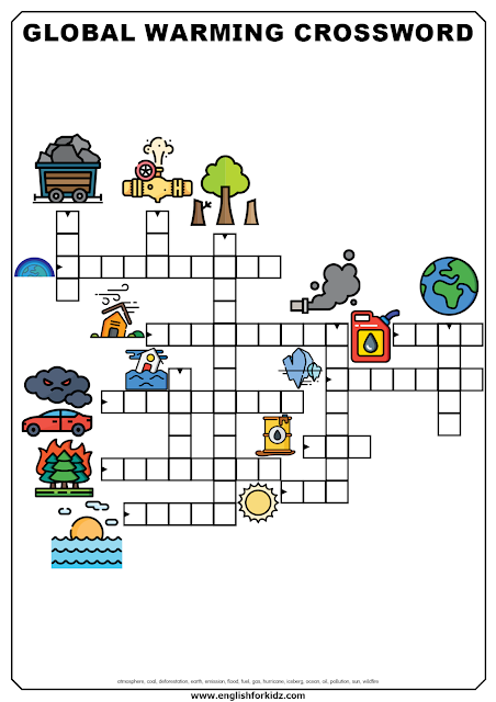 Global warming crossword - printable worksheets for English learners