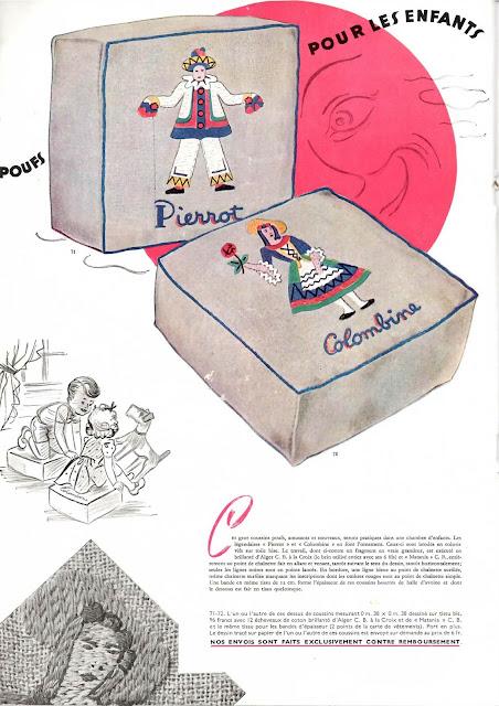 magazine mode et travaux octobre 1942 des poufs pour les enfants