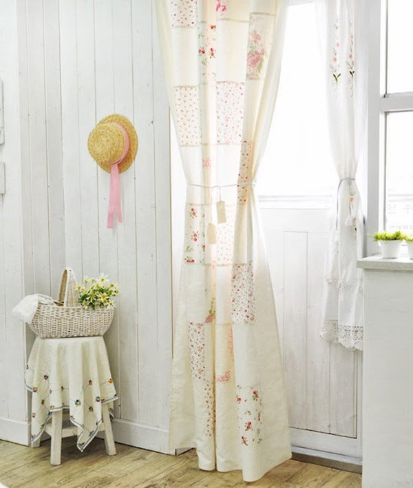 Patchwork Curtains tied back in shabby chic living room