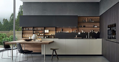 Furniture idea for open kitchen with big screen glass window and black cabinet countertop and wooden shelves