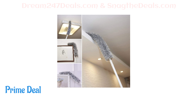 40% off Microfiber Duster for Cleaning with Extension Pole Reaches 50 - 70 Inches with Bendable Head,Non-Scratch,Washable for Cleaning High Ceiling Fan, Interior Roof, Cobweb, Gap Dust- Wet or Dry Use