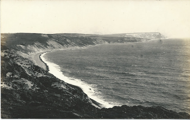 View of cliffs and sea
