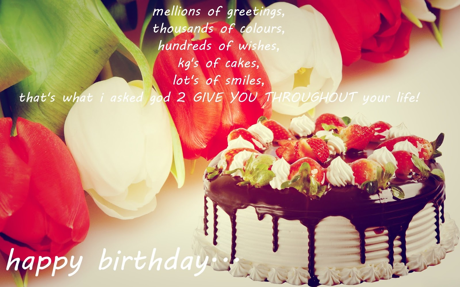 Beautiful happy birthday cake and flowers quotes izmirmasajfo