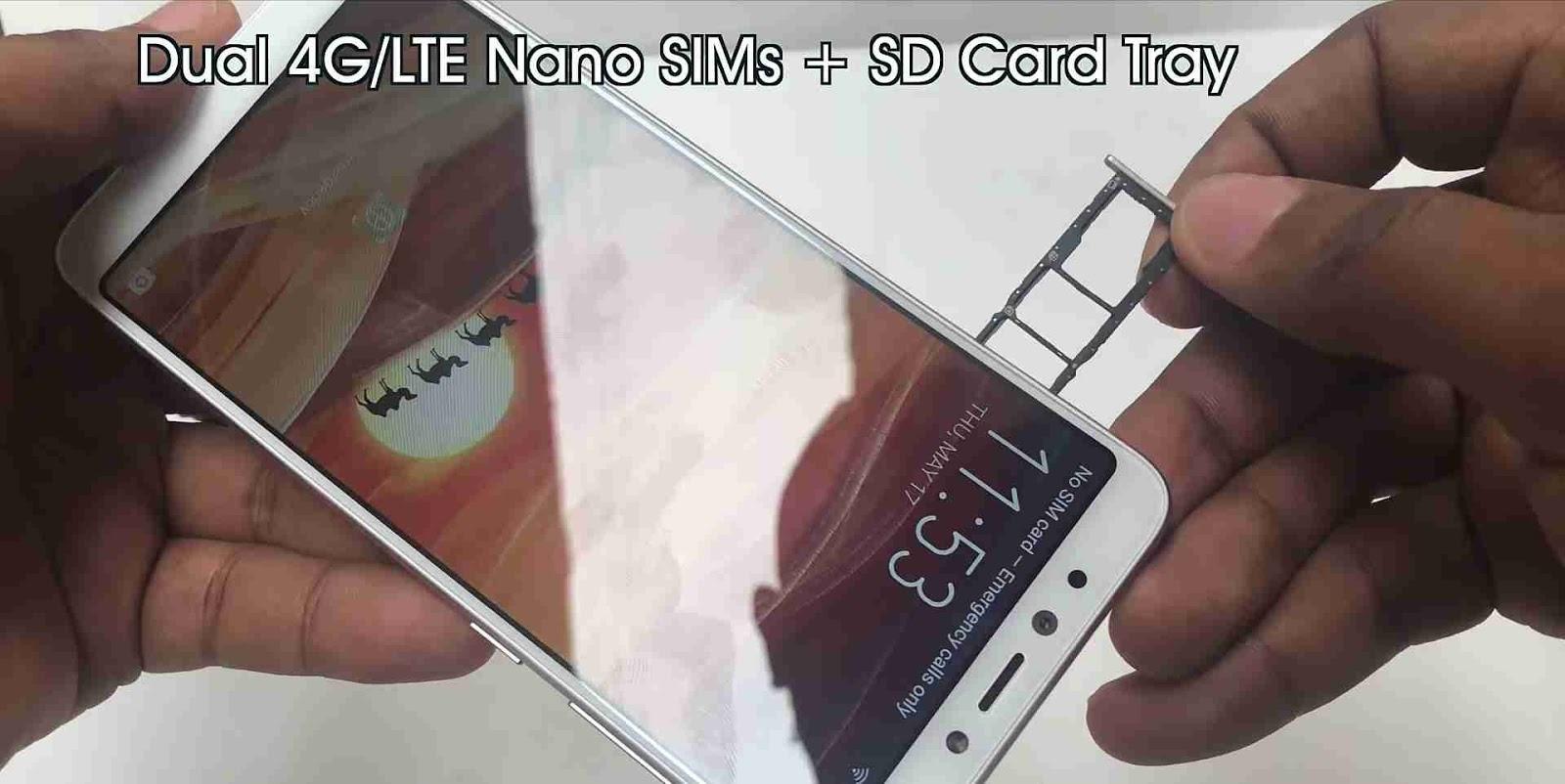 Single Sim Tray with Dual Sim Cards And One MicroSD Card