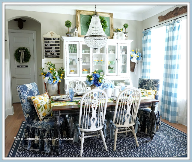 Blue & White-French Farmhouse-Dining Room-From My Front Porch To Yours