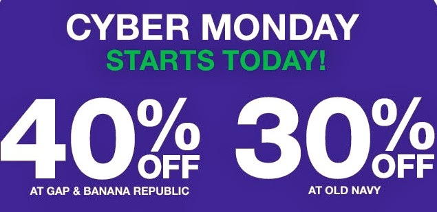 7068316bc Cyber Monday Coupon Codes 2013: Save Big At Gap, Old Navy, & Banana Republic