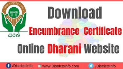 Download Encumbrance Certificate Online Dharani Website Telangana