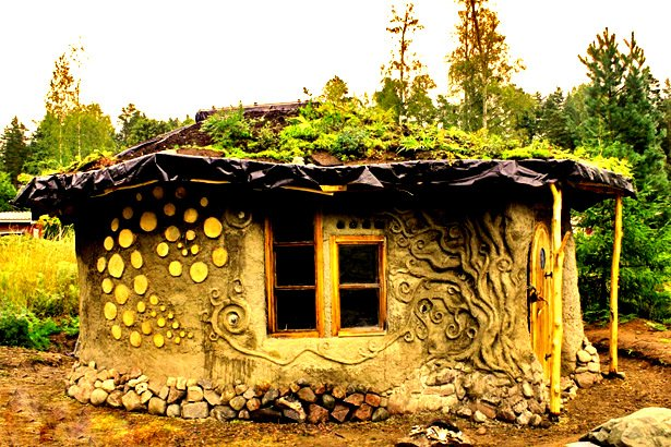 Heidis Little Cottage In A Forest Southern Finland Is Built With Variety Of Natural Building Techniques Rubble Trench Earth Bag Stem Walls Dressed