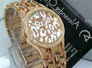 jam tangan alexandre christie wanita rantai hitam
