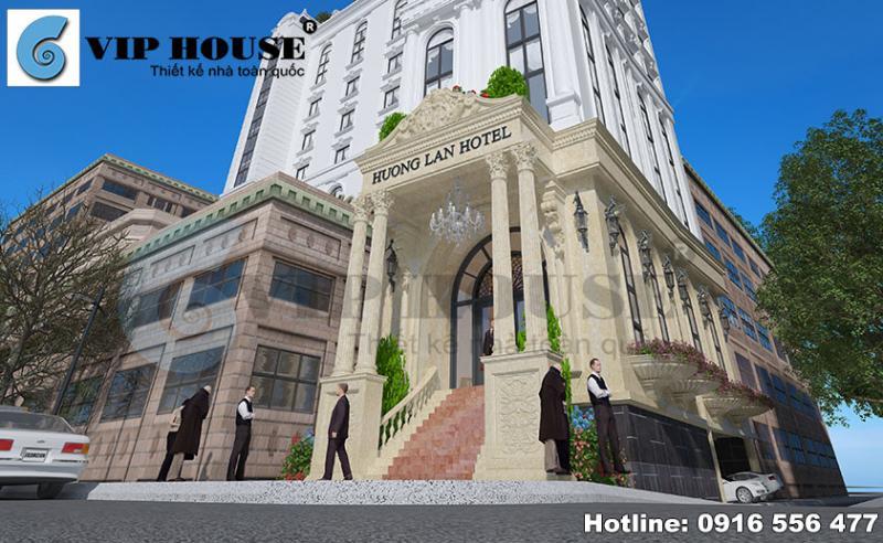 Hình ảnh: Không gian sảnh tiếp khách sang trọng trong thiết kế khách sạn 2 mặt tiền