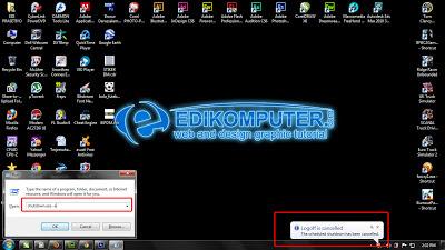 Cara seting Timer shutdown otomatis untuk windows 7