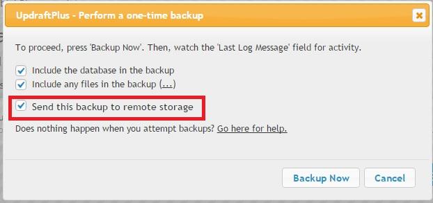 updraftplus backup popup