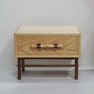 Ash wood cabinet on a Japanese style walnut base