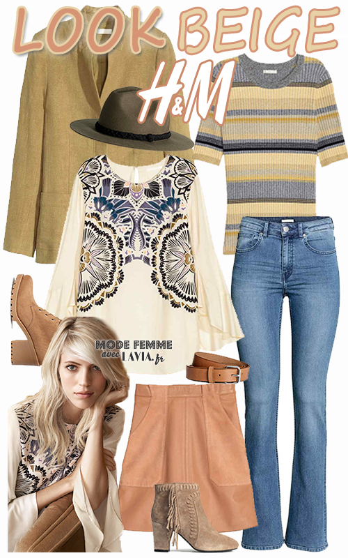 Look beige H&M tendance printemps 2016