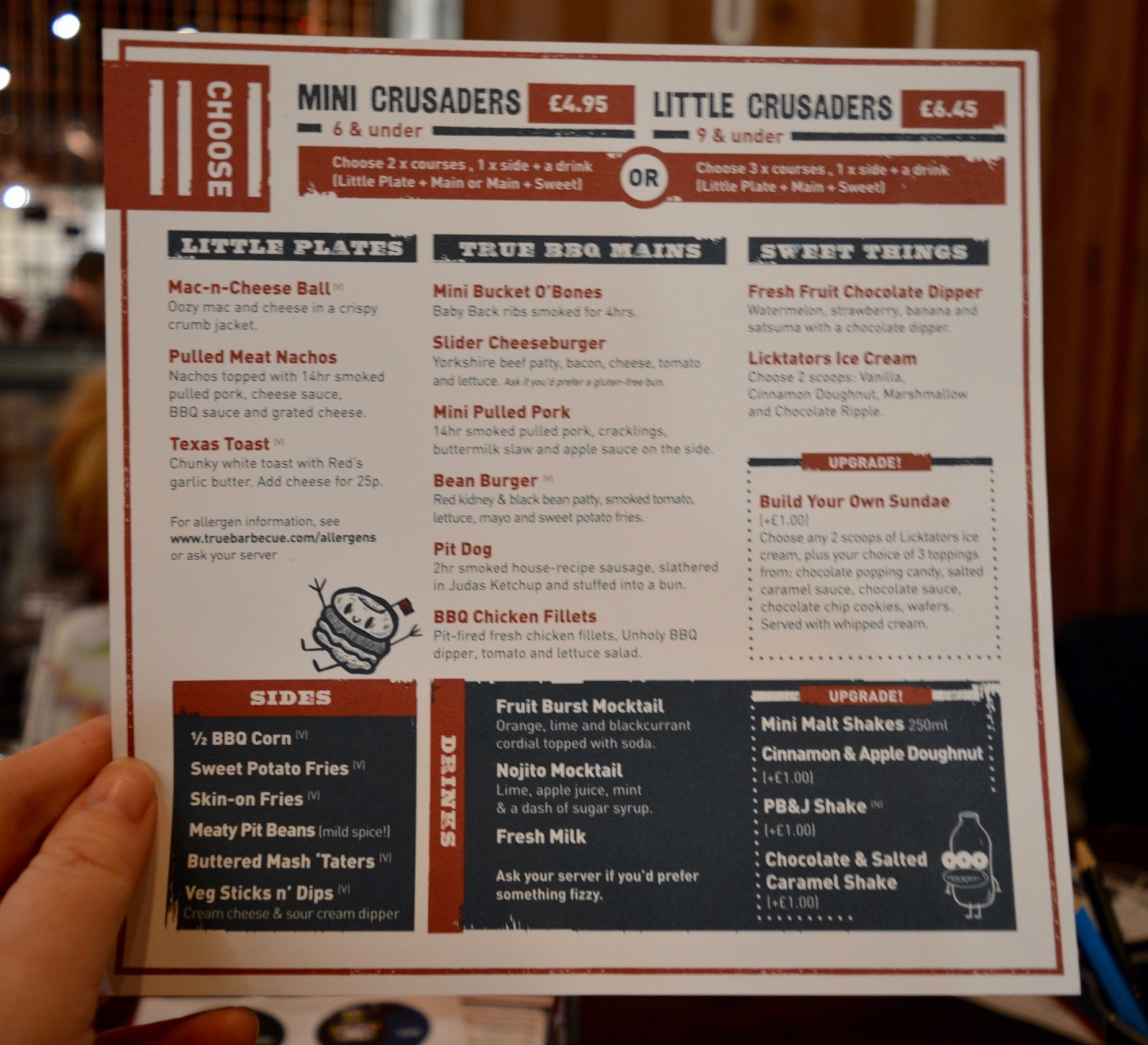 Red's True BBQ Newcastle | Menu Review (including Children's Menu) - children's menu