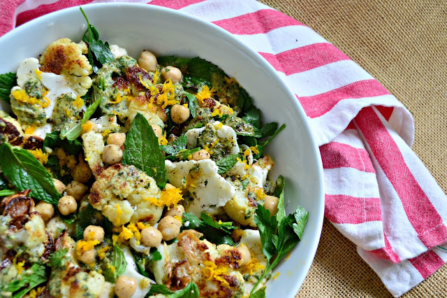 Cauliflower Salad with Hummus and Tahini Dressing is my favorite way to eat cauliflower. Of course the tahini dressing may have something to do with it! #Cauliflower #Salads www.thisishowicook.com