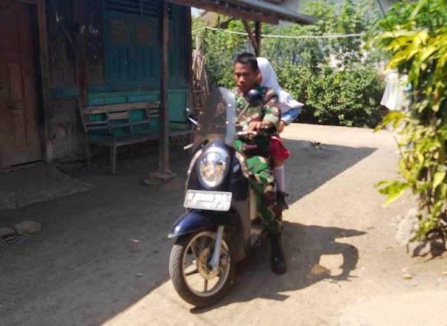 Babinsa Jatimulya Tegal, Memotivasi Pelajar di Wilayah Binaan ke Sekolah
