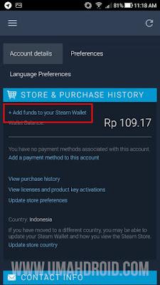 Tekan Add Funds untuk Menambah Saldo Steam