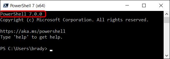 تحقق من تشغيل PowerShell 7 في الزاوية العلوية من البرنامج.