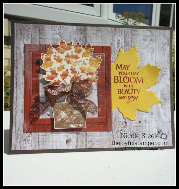 Stampin' Up!'s Beauty & Joy handmade fall card using Faux Wood Technique