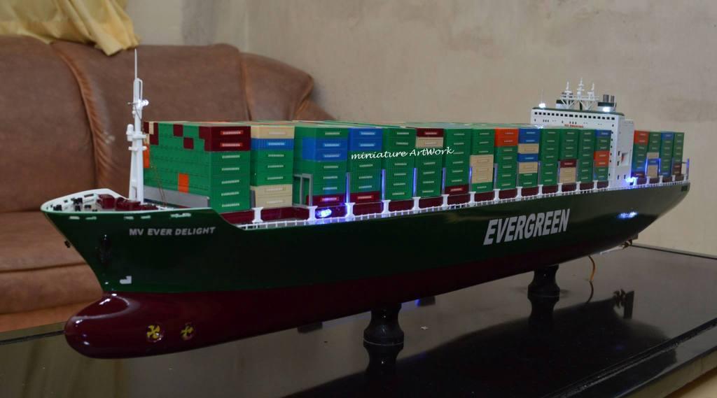 miniatur kapal container cargo mv ever delight evergreen panama murah