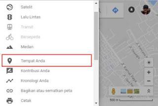 klik tempat Anda di Google Maps