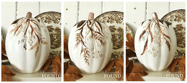 fall, fall decorating, fall decor, pumpkins, pumpkin decor, pumpkin decorating, painted pumpkins,  home decor, decorating, autumn decor, thanksgiving decor, thanksgiving, october decor, november decor, chinoiserie painted pumpkins, toile painted pumpkins, blue and white painted pumpkins, brown toile, neutral home decor, fall leaves, painting