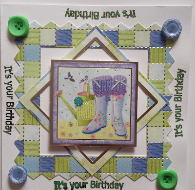 "Happy Birthday - Wellibobs on patchwork background 6"" square card"