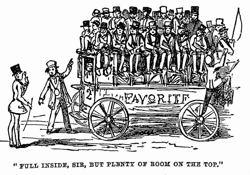 an 1847 public transit cartoon, Full inside Sir but plenty of room on the top