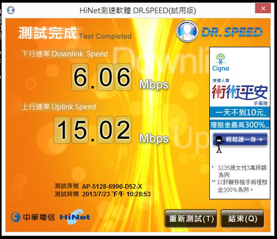 啾啾ㄟ部落格: SO-NET 光纖60M/15M 連線速率測試