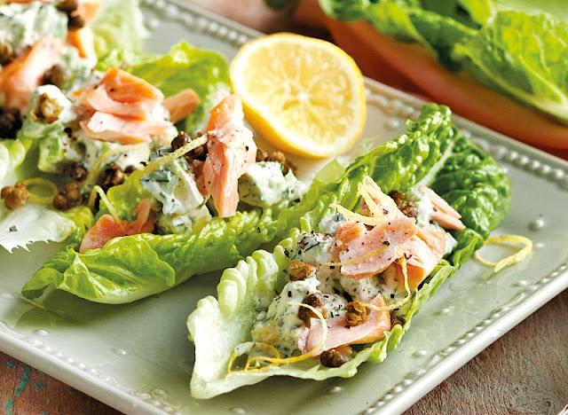 healthy homemade lunches, veggie-stack pita pockets, smokey salmon lettuce wraps
