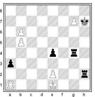 Estudio artístico de ajedrez compuesto por N. Ryabinin (2º Mención de Honor, Moscú-850 1997)