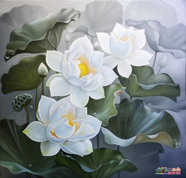 tranh sơn dầu vẽ hoa sen