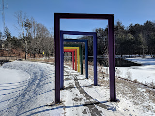 The lollipop garden was located on the ground to the left of the rainbow arches