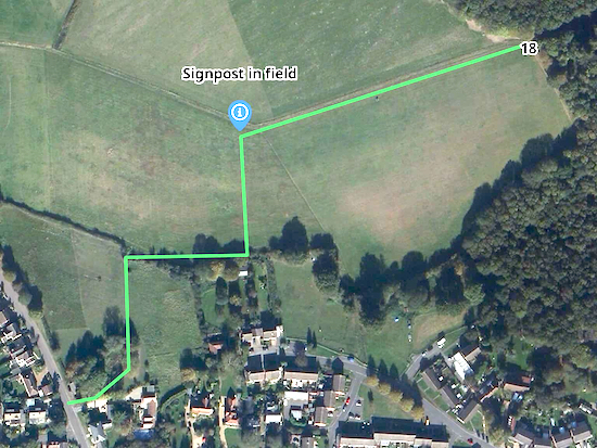 The route across the field after point 18