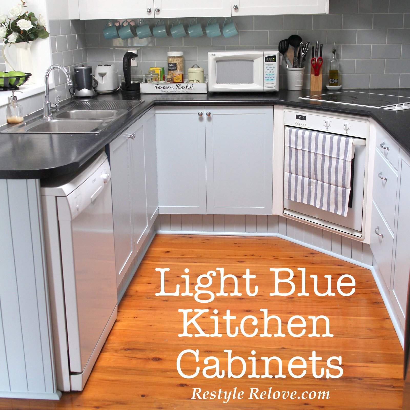 Kitchen Restyle Including Light Blue Cabinets