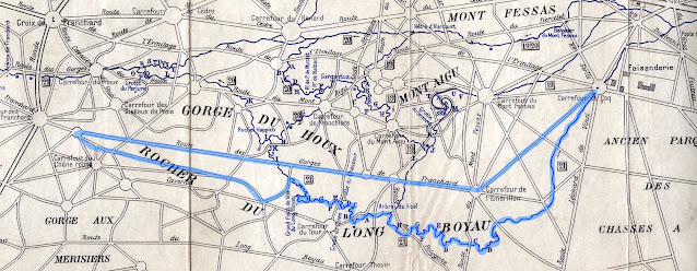 Carte du sentier du Long Boyau, forêt de Fontainebleau.