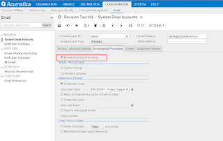 Acumatica Email Processing Preferences