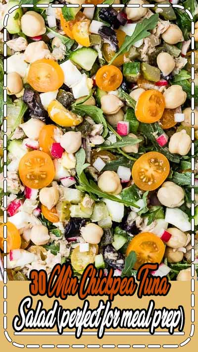 This Chickpea Tuna Salad with homemade lemon dressing is a great dish that you can serve for picnics, barbecue parties, brunch or a simple lunch. It is also perfect for a quick and easy meal prep. Packed with protein and good-for you fats, it is healthy and filling. Ready in 30 minutes and can be made ahead. #mealprep #healthysalad #healthy #recipe #chickpeasalad #tunasalad